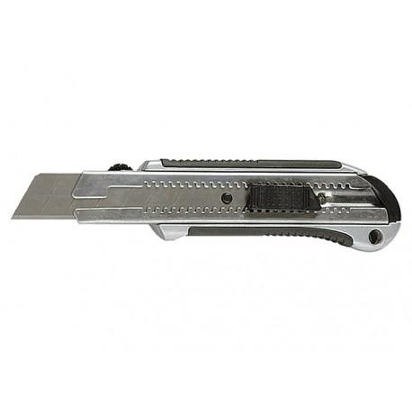 Kés 25mm, műanyag gumírozott markolattal, kitolható penge, fém vezetővel, 5db tartalék pengével MTX