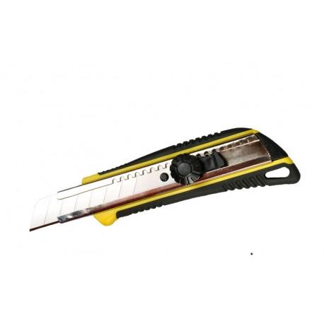 Kés 18mm fémmegvezetéssel 2K gumírozott tekerős Centrotool