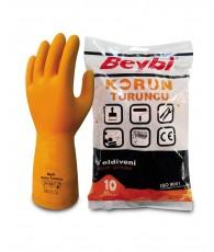 Kesztyű latex PROFI narancs Beybi