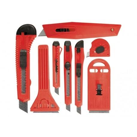 Kés készlet 8r., műanyag markolattal, 4db 9mm-es, 1db18mm-es1db trapéz, 2db festékkaparó MTX